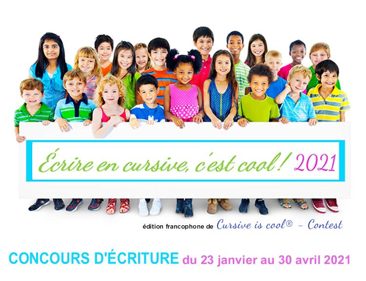 Concours Écrire en cursive, c'est cool ! 2021 Visuel